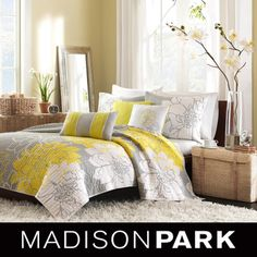 @Overstock - This coverlet collection features an over-scaled floral print design printed on 100-percent cotton fabric for a super soft feel. The reverse is a clean white color that coordinates with the grey, white and yellow from the face.http://www.overstock.com/Bedding-Bath/Madison-Park-Brianna-6-piece-Coverlet-Set/7213922/product.html?CID=214117 $99.99