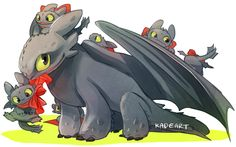 The Night Fury Family ...  How to train your dragon, toothless, night fury, dragon