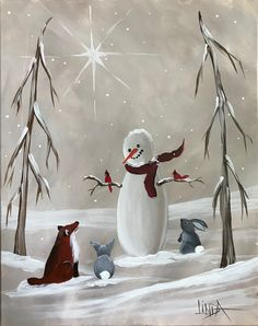 Forest Friends Snowman With Fox And Bunnies Acrylic Painting On Canvas Snowmen Paintings, Christmas Paintings On Canvas, Holiday Canvas, Bunny Painting, China Painting, Acrylic Painting Canvas, Canvas Art, Winter Painting, Winter Art