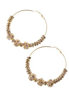 BEADED HOOP EARRINGS Clear/Gold 3 inches $10