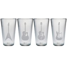 Pint glass with a sand-etched guitar motif. Made in the USA. Product: Set of 4 pint glassesConstruction Material: GlassColor: ClearFeatures: Sand-etched guitar motif Made in the USA. Dimensions: H x Diameter Glass Rocks, Guitar Collection, Shot Glasses, Joss And Main, Drinkware, Pint Glass, Rock And Roll, Drinking, Great Gifts
