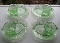 Tiara Indiana Glass 4 Chantilly Green Sandwich Snack Plate & Cup Sets #IndianaGlass