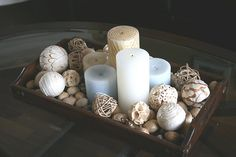This is cool. Candles in tray goes along with the nautical theme I have in my bathroom.