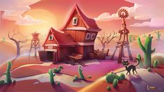 Desert abandoned farm environment i did for a little app game i`m involved into developing recently. The game will be a cartoony one with fairy`s and witches so there needs to be a certain aura of mistery. There is going to be a total of you can fi& Game Background, Cartoon Background, Animation Background, Farm Cartoon, Cartoon House, Environment Concept Art, Environment Design, Fantasy Landscape, Landscape Art