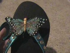 DIY Flip Flops - Butterfly Diva Big Black Boots, Flip Flop Craft, Strapless Bras, Girl Spa Party, Next Shoes, Beaded Sandals, Kids Sandals, Minka, Summer Diy