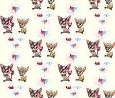 Good Chihuahua, Bad Chihuahua, large scale fabric by amy_g on Spoonflower - custom fabric
