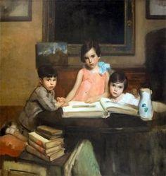 ~ Ambrogio Antonio Alciati ~ Italian artist, 1878-1929: I bambini Moizzi, 1929