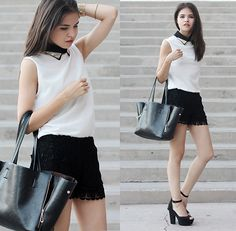 Soeurs.Co Metallic Collar, Chicwish Lace Shorts, Romwe Zippers