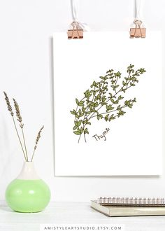 Home Decor for Her, Kitchen Print - Thyme - printable herbs wall art with a hand drawn thyme graphic artwork.This kitchen wall art printable is perfect as a housewarming or moving gift. By Amistyle Art Studio on Etsy Kitchen Prints, Kitchen Wall Art, Herb Art, Artisan & Artist, Moving Gifts, Graphic Artwork, Watercolor Design, Botanical Art, Art Market