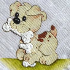 #ilustracao Mais Free Machine Embroidery Designs, Applique Designs, Embroidery Applique, Dog Quilts, Animal Quilts, Quilt Baby, Tole Painting, Fabric Painting, Nursery Paintings