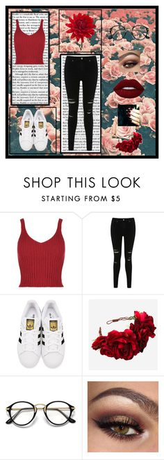 """""""Red"""" by killerbarbiexoxo-123 on Polyvore featuring Miss Selfridge, adidas Originals, Rock 'N Rose and Lime Crime"""