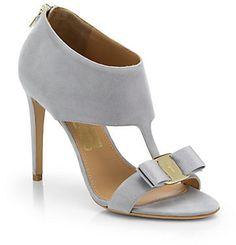 Salvatore Ferragamo Pellas Suede T-Strap Sandals on shopstyle.com