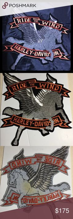 "Harley Davidson Vintage Rare XXL Pegasus Patch NEW Harley Davidson rare patch. Vintage iron on/sew on patch with a story.  XXL Pegasus with Harley Davidson Motorcycles rockers. 14"" x 12"". Back has some yellowing from the Harley Davidson Official Product Sticker that has fallen off that I cannot find.  This patch is Rare, especially this size, and hard to find. Harley-Davidson Other Pegasus, New Harley Davidson, Harley Davidson Motorcycles, Vintage Iron, Sew On Patches, Rockers, Tank Top Shirt, Fashion Tips, Fashion Design"