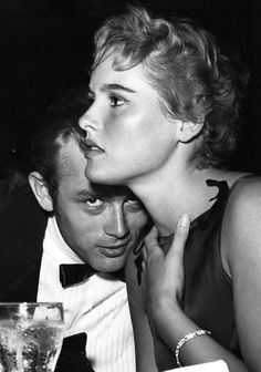 "jamesdeaner: ""James Dean and Ursula Andress at Ciro's Nightclub, 1955."""