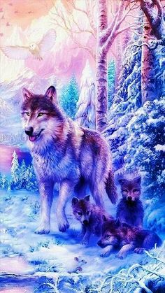 Mom and pup waiting for the pack mom Pack pup waiting wallpap Wolf Wallpaper, Animal Wallpaper, Cute Animal Drawings, Cute Drawings, Drawings Of Wolves, Wolves Art, Fantasy Wolf, Fantasy Art, Galaxy Wolf