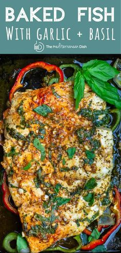 Easy Baked Fish with Garlic and Basil You'll love this juicy, tender baked fish recipe! The secret is in the flavorful marinade with garlic, lemon, and fresh basil. Plus a couple important tips. Seafood Dishes, Seafood Recipes, Cooking Recipes, Healthy Recipes, Fish Recipes Diet, Fresh Fish Recipes, Fresh Basil Recipes, Easy Fish Recipes, Healthy Food