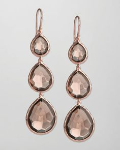 Triple-Drop Rose Earrings, Smoky Quartz by Ippolita at Neiman Marcus.  (18K rose gold plated over 18K gold alloy;  $895)