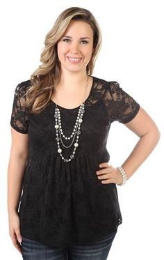 plus size lace baby doll top with attached necklace