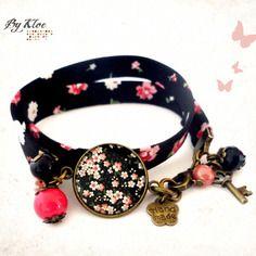 Bracelet liberty cabochon • sakuro • fleur japon noir blanc rose verre