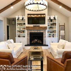 23 Ideas For Living Room Layout With Fireplace In Corner House Plans Living Room With Fireplace, My Living Room, Living Area, Living Room Vaulted Ceiling, Living Room Built Ins, Kitchen Open Concept, Fireplace Built Ins, Shiplap Fireplace, Farmhouse Fireplace