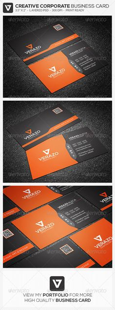 Modern Corporate Business Card 52 ...  black, business, business card, call, card, clean, corporate, creative, dark, design, horizontal, modern, name, orange, personal, professional, psd, qr code, style, stylish, template, unique, verazo, visit, white