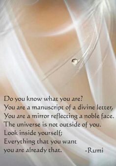 Do you know what you are. ️Rumi ❤️☀️