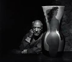 """onlyoldphotography: """" Yousuf Karsh: Pablo Picasso, 1954 """" The maestro's villa was a photographer's nightmare, with his boisterous children bicycling through vast rooms already crowded with canvases. I eagerly accepted Picasso's alternate suggestion. Pablo Picasso, Art Picasso, Picasso Portraits, Georges Braque, Henri Rousseau, Henri Matisse, Famous Artists, Great Artists, Yousuf Karsh"""
