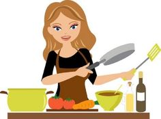 Cooking With JL Artesanato. Check Out These Simple Cooking Tips! Girl Cooking, Cooking Tips, Cooking Clipart, Cute Couple Drawings, Water Drawing, Cake Logo, Cute Clipart, Menu, Holly Hobbie