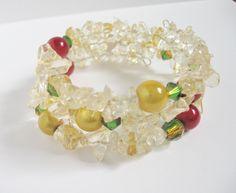 Citrine, Swarovski Crystal and Miracle Bead Triple-Stack Memory Wire Bracelet, Golden Ice Gemstone Mix Bracelet by ChipsAreDown on Etsy