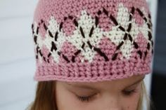 Argyle crochet hat