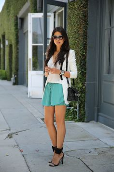 VIVALUXURY - FASHION BLOG BY ANNABELLE FLEUR: SUMMER SAGE - STYLEMINT GIVEAWAY  Stagg shorts via StyleMint | BCBG blazer  - sold out { other cute options here & here } | Proenza Schouler Ps11 shoulder bag | Gucci Victoire ankle-strap sandals | Dusky sunglasses in Aqua Fade via IVI Vision | Rebecca Minkoff studded pave leather cuff | Silver cross bracelet via Jewelinks May 15, 2013