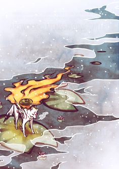 Amaterasu finds a moment's respite, floating on a lilypad.