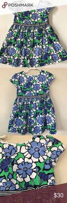 Gymboree short sleeve fully lined dress Gymboree short sleeve fully lined dress in flower print in different shades of blues with white & green and pretty bow on side. Has three back buttons and diaper cover. EUC Gymboree Dresses