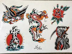 Traditional Tattoo Sketches, Traditional Tattoo Old School, Traditional Tattoo Design, Tattoo Flash Sheet, Tattoo Flash Art, Scarab Beetle Tattoo, Soldier Tattoo, American Dragon, Vintage Flash