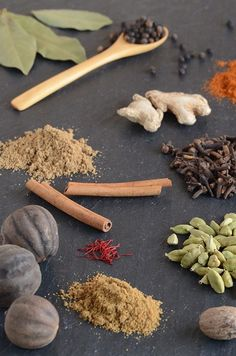 Middle Eastern Spice Blends (Baharat) _ Left to Right, Top to Bottom:  Bay Leaves, Whole Black Peppercorns, Ground Red Pepper (Cayenne), Dried Ginger, Dried Ground Coriander, Whole Cloves, Cinnamon Sticks, Dried Limes, Saffron, Whole Green Cardamom Pods, Dried Ground Cumin, and Whole Nutmeg.