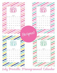 Free Printable Monogram December Calendars From ChicfettiCom