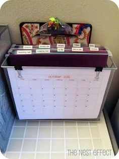 Mail organizer - did this!!  Works great. Got rid of all of the piles.