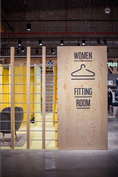 Great way to section off space, while keeping an open concept space. Upside department store by Atelier (M + G), Herstal store design Store Signage, Retail Signage, Wayfinding Signage, Signage Design, Shop Interior Design, Retail Design, Store Design, Design Set, Visual Merchandising