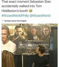 """who remembers that time when Sebastian Stan accidentally wandered to Tom Hiddleston's booth thinking it was his, and he looked super confused when he turned around and saw lots of Lokis. so he just ended up giving Tom a mustache 😂💗"" Sebastian Stan, Marvel Actors, Marvel Avengers, Marvel Comics, Loki God Of Mischief, Marvel Funny, Marvel Memes, Avengers Memes, Fandoms Unite"