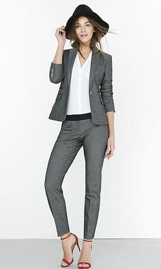 Womens Tweed One Button Jacket & Tweed Ankle Pant Womens Fashion Casual Summer, Office Fashion Women, Black Women Fashion, Womens Fashion For Work, Fashion Fall, Style Personnel, Pantsuits For Women, Professional Attire, Mode Style