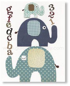 Illustration pour chambre d'enfant fille garcon décoration éléphant : Chambre d'enfant, de bébé par galerie-anais