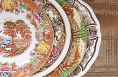 Mismatched Brown and Cream Dinner Plates for by RosebudsOriginals
