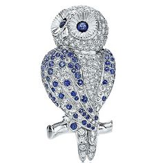 Tiffany & Co. Diamond and Sapphire Owl Brooch