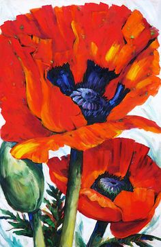 Wild Poppies - Floral Art By #BettyCummings  - Oil On Canvas Remastered