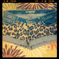 Sequin Leopard Print Shorts  by AngeliqueMerici on Etsy, $30.00