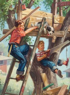 Mainstream Illustration, HY (HENRY) HINTERMEISTER (American, 1897-1972). Building a Treehouse.