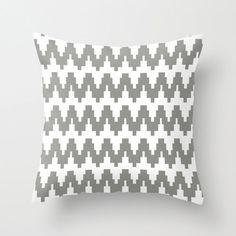 Gray and White Cheveron Zig Zag Geometric POPULAR FABRIC Throw Pillow Cover Case 16X16 or 18x18 Or 20x20 Hidden Zipper