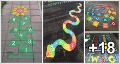 Playground Painting Ideas - Preschool - Aluno On - Diy Crafts Kids Backyard Playground, Playground Games, Motor Skills Activities, Preschool Activities, Sidewalk Chalk Games, Playground Painting, Yard Games For Kids, Diy Crafts New, Paint Games