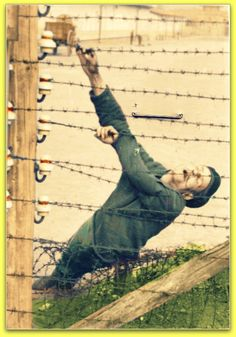 Auschwitz prisoner commits suicide on the camp's electric fence. 1943.. B/W Photo Colourised by Pearse.