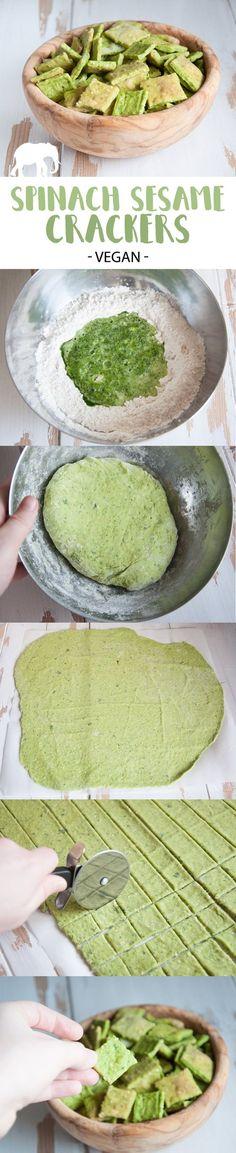Homemade Vegan Spinach & Sesame Crackers #vegan #crackers #spinach #sesame #snack via @elephantasticv